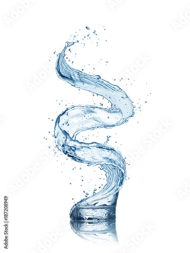 Abstract shape of water splash with glass, isolated on white background