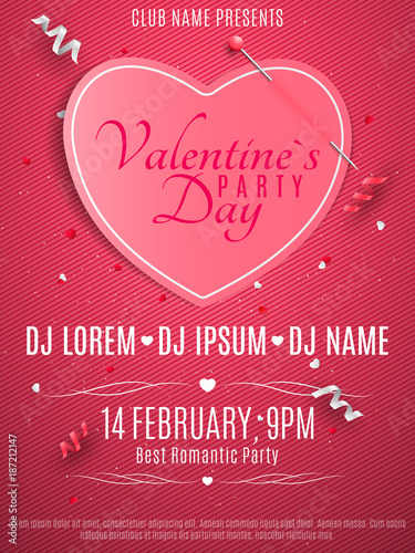 Valentines Day Party Flyer Pink Note With Pin Banner Paper Heart Romantic Composition