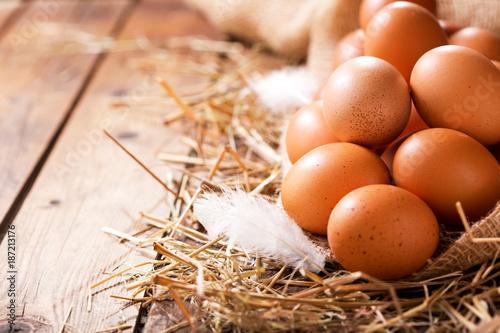 Eggs in a heap of Hay