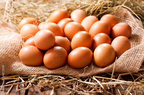 Eggs in a heap of Hay