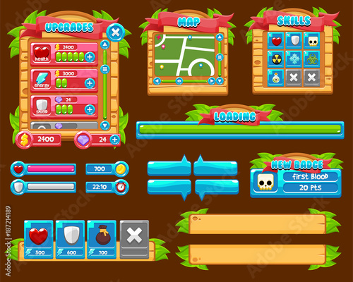 Jungle Game GUI Pack - Buy this stock vector and explore
