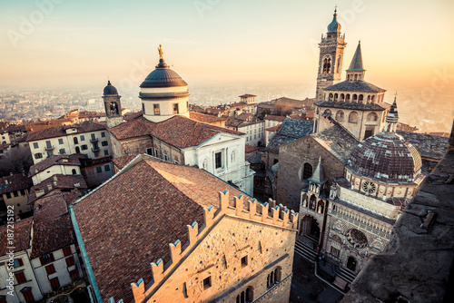 Fotografia, Obraz Bergamo Alta old town at sunset - S