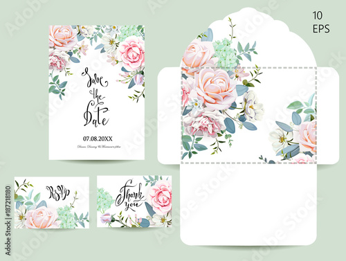 Foto  Wedding set with invitations and an envelope 1