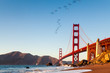 The Golden Gate Bridge is a suspension bridge spanning the Golden Gate, the one-mile-wide (1.6 km) strait connecting San Francisco Bay and the Pacific Ocean. San Francisco, California, United States.