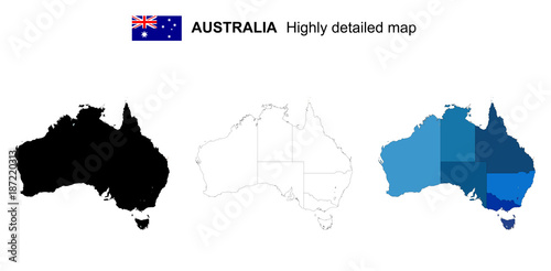 Australia Map Provinces.Australia Isolated Vector Highly Detailed Political Map With