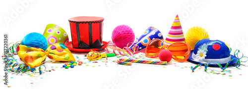 Staande foto Carnaval Colorful birthday or carnival background with party items isolated on white