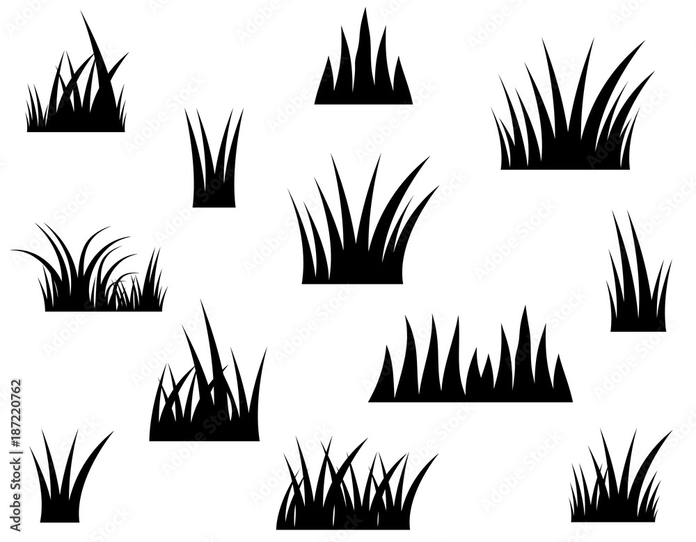 Fototapety, obrazy: Black vector grass silhouette on white background
