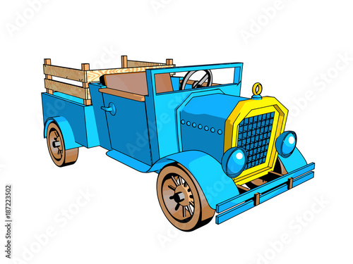 Staande foto Cartoon cars car cartoon style retro design blue color old interesting different kinds of cards isolate white background