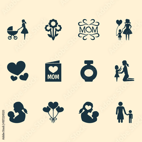 Mothers Day Icon Design Concept Set Of 12 Such Elements As Mam