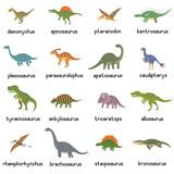 Fototapeta Dinusie - Vector collection of cute flat dinosaurs, including T-rex, Stegosaurus, Velociraptor, Pterodactyl, Brachiosaurus and Triceratop