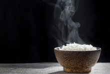 Cooked Rice With Steam In Wood...