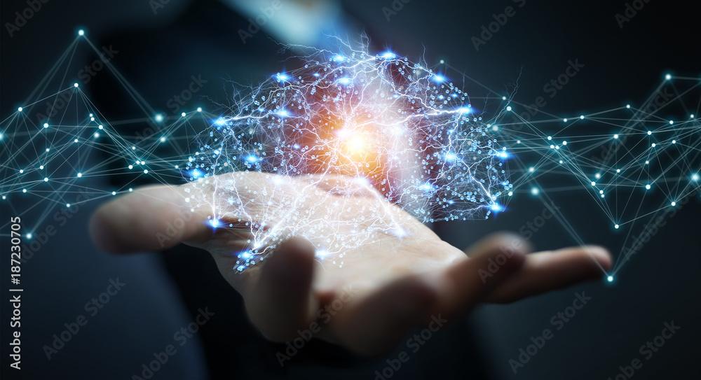 Fototapety, obrazy: Businessman using digital x-ray human brain interface 3D rendering