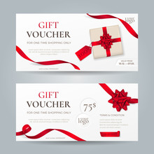 Vector Set Of Elegant Gift Vouchers With Red Ribbons, Bows And Gift Box. Template For Holiday Gift Cards, Coupons And Certificates. Isolated From The Background.