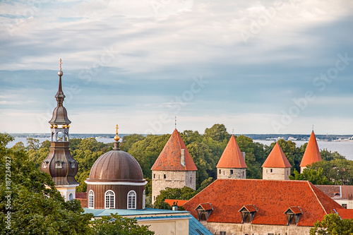 In de dag Barcelona View of Tallinn Old Town, Baltic Sea and St. Olaf in a cloudy day, Estonia