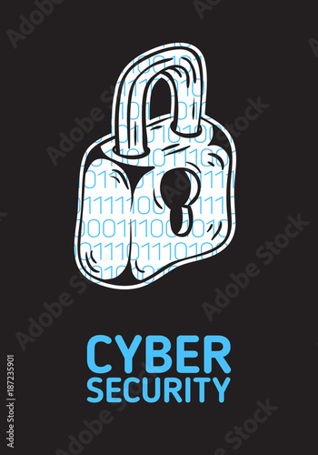 Cyber Security Safety Conceptual Poster Design With A Silhouette Of A Lock And Binary Code Within Artistic Cartoon Hand Drawn Sketchy Line Art Buy This Stock Vector And Explore Similar Vectors