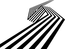 Abstract Black And White Stripes Bent Ribbon Geometrical Shape
