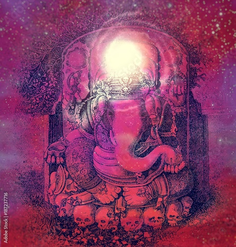 Photo  Ganesha on starry background