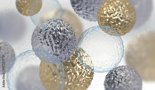 Abstract background with amorphous shape. Chaotic composition of formless elements. 3d render picture.
