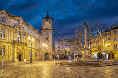 Town Hall square at dusk with City Hall (Hotel de Ville) building, clock tower a Wallpaper Mural