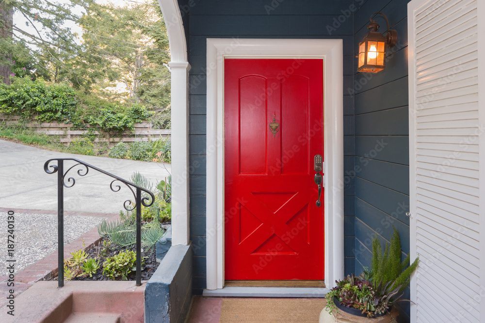 Fototapety, obrazy: Red Entry Door / Front Door with single cylinder entrance electronic handle-set.