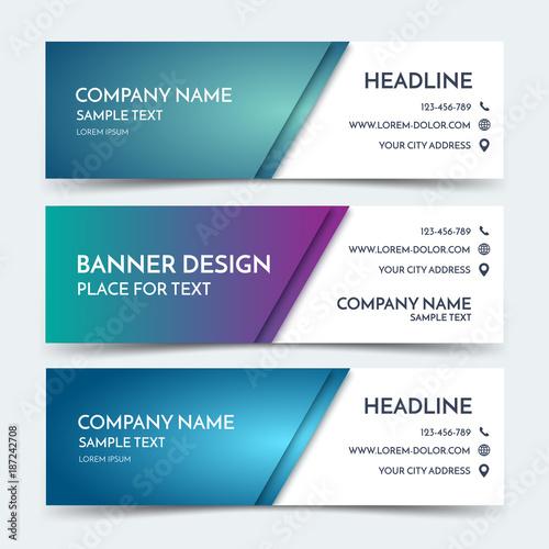 Horizontal business banner templates vector corporate identity horizontal business banner templates vector corporate identity design blue technology background layout set flashek Choice Image
