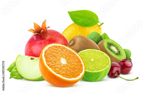Spoed Foto op Canvas Vruchten Fruits isolated on white background