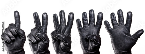 Valokuva  Set of five hands in black leather glove showing numbers isolated on white