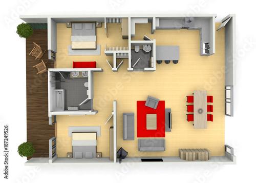 Cgi Birds Eye View Floorplan Of A Modern House Or Apartment