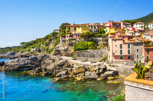 Poster Liguria Panoramic view of beautiful colorful houses of Tellaro village, Lerici, La Spezia, Italy