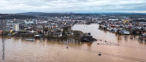 Fotografía Hochwasser am Deutschen Eck in Koblenz, Rheinland-Pfalz