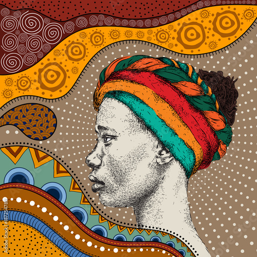 Leinwand Poster Girl in turban with African hand draw ethno pattern, tribal background