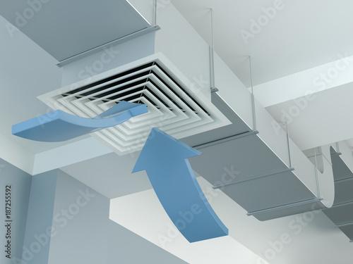 Valokuva  Industrial air duct ventilation - arrows