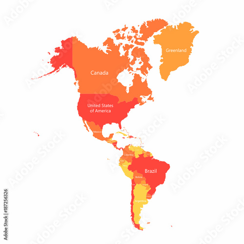 Vector South America and North America map with countries ...