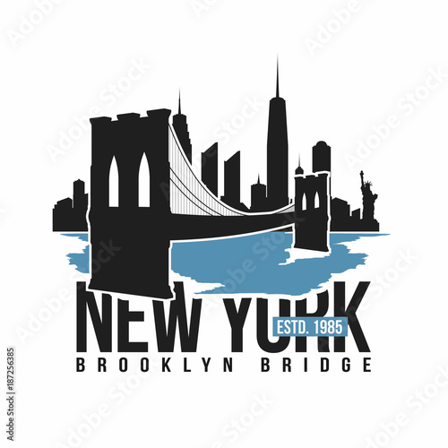 New York, Brooklyn Bridge typography for t-shirt print Fototapet