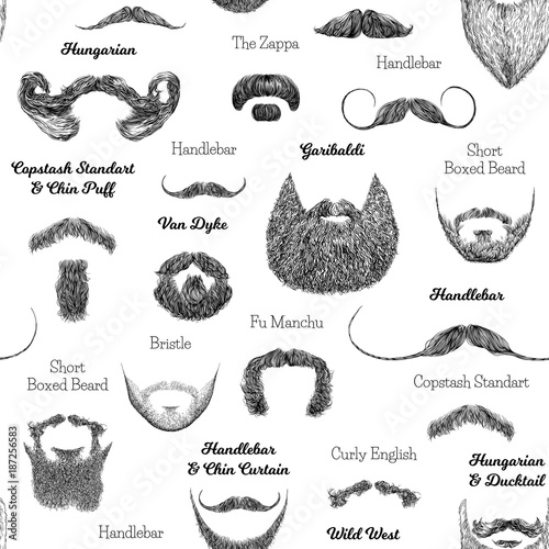 Canvas Print Vector seamless pattern with beards and mustaches