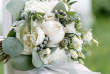 Wedding Bouquet With Rain Drop...