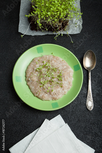 Multi-cereal porridge with micro greens for weight loss