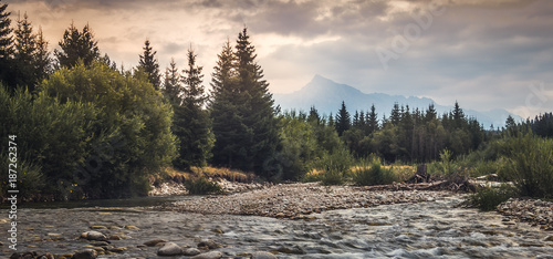 Poster Gris Bela River with Krivan Peak at Sunset in Slovakia