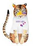 Happy Holi festive greeting card, banner, poster, element, decoration design. Hand drawn water color painting. Vivid, multicolored, creative. Big smiling tiger cat, painted face, clothes with words. - 187263943