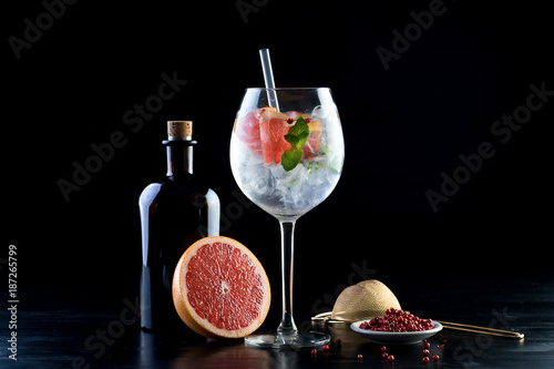 gin and tonic alcohol drink cocktail glass ice fruit garnish plain black white b Poster Mural XXL