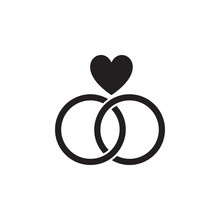 Wedding Rings With A Heart Icon. Valentine's Day Elements. Premium Quality Graphic Design Icon. Simple Love Icon For Websites, Web Design, Mobile App, Info Graphics