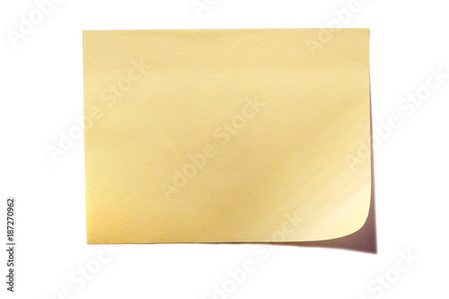 Fotografia  Yellow sticky post note isolated on white