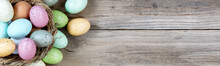 Easter Eggs On Rustic Wooden B...