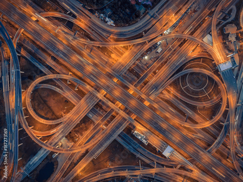Photo  aerial view  roundabout of expressway