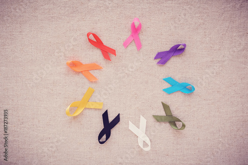 Fotografie, Obraz  colorful ribbons, cancer awareness, World cancer day background