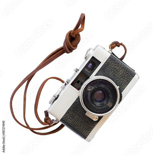 Vintage camera - old film camera isolate on white with clipping path for object, retro technology Wall mural