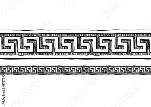 Greek meander. Border ornaments. Wallpaper Mural
