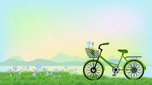 Green Bicycle On Blossom Flowers Field And Green Grass Background, Vector Illustration Eps10