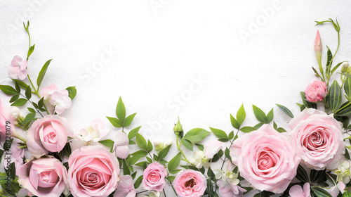 Foto op Canvas Roses Rose flower with leaves frame