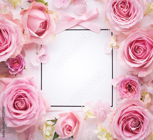 Obraz na płótnie Pink rose with paper card